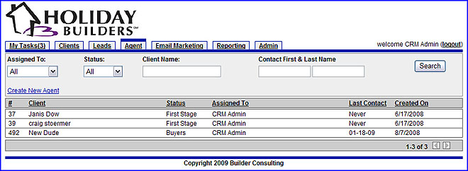 CRM Agent Realtor Admin Leads